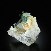 Aquamarine With Schorl On Smoky Quartz