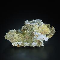 Cerussite On Baryte On Quartz With Chalcopyrite