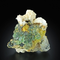 Fluorite With Quartz Schorl & Hyalite On Orthoclase