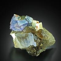 Fluorite On Smoky Quartz With Epidote & Feldspar