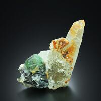 Fluorite With Schorl Hyalite Opal & Quartz