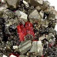 Pyrite With Realgar & Galena