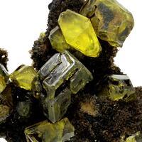 Native Sulphur On Aragonite With Bitumen