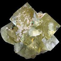 Fluorite With Quartz & Malachite