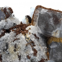 Siderite & Calcite On Galena With Fluorite