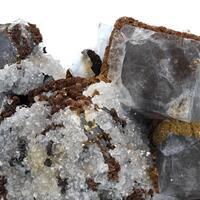 Siderite & Calcite On Galena With Fluorite