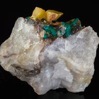 Dioptase Baryte On Quartz