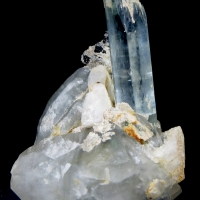 Aquamarine With Tourmaline & Quartz