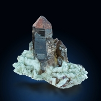 Smoky Quartz & Fluorite On Feldspar