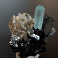 Aquamarine Schorl & Smoky Quartz