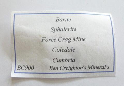Label Images - only: Sphalerite & Baryte