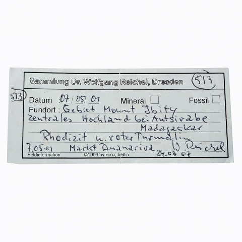 Label Images - only: Rubellite With Rhodizite