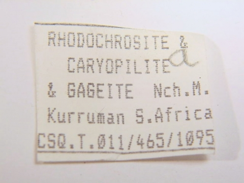 Label Images - only: Rhodochrosite Caryopilite & Gageite