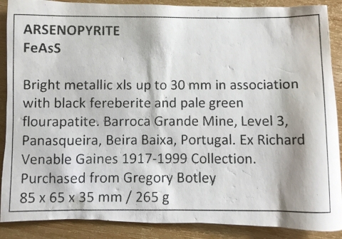 Label Images - only: Arsenopyrite Ferberite & Apatite