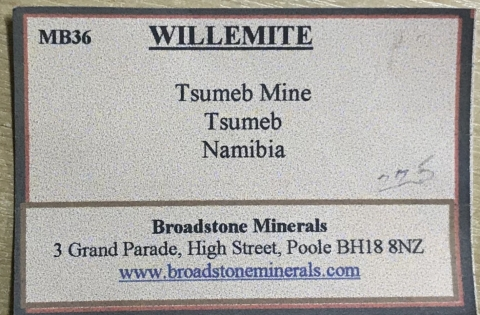 Label Images - only: Willemite & Plancheite