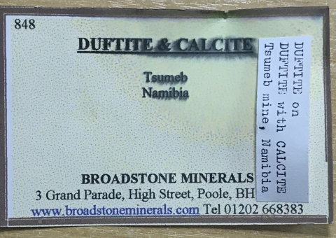 Label Images - only: Duftite Psm Copper & Calcite