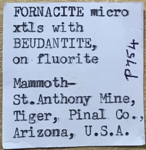 Label Images - only: Fluorite Beudantite & Fornacite