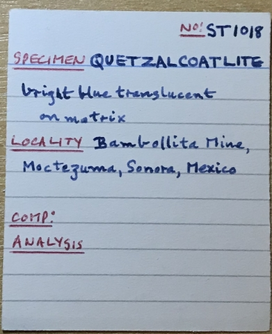 Label Images - only: Quetzalcoatlite Hessite Native Silver & Azurite