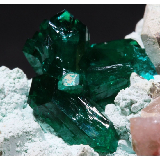 Dioptase With Plancheite On Quartz