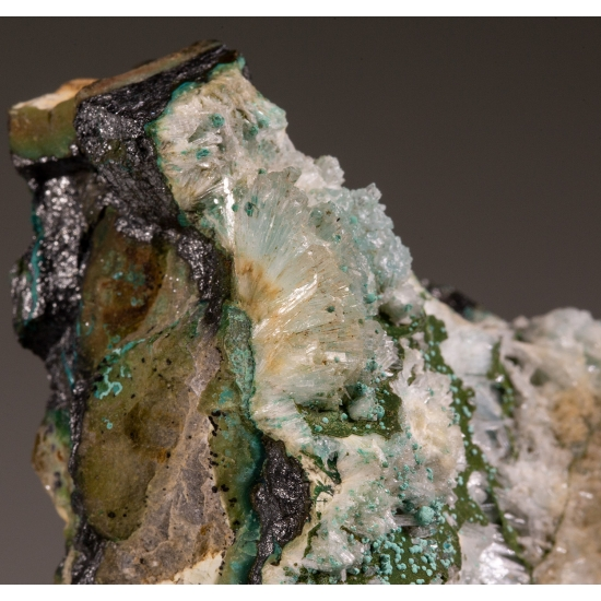 Mercurian Tetrahedrite Aragonite & Malachite