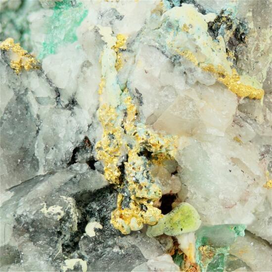 Gold With Quartz & Malachite & Bornite