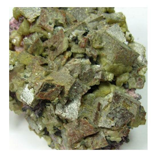 Ankerite & Smaltite & Native Bismuth On Erythrite