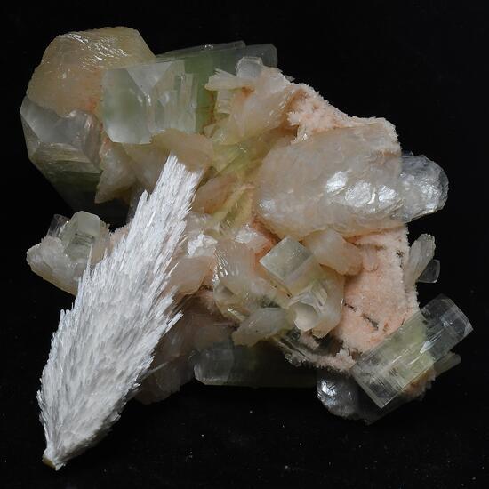 Scolecite With Apophyllite & Stilbite On Chalcedony