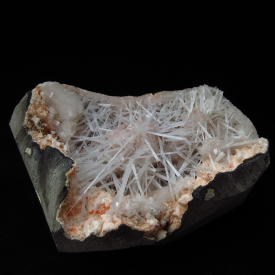 Scolecite With Stilbite On Heulandite In Geode