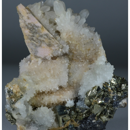 Rhodochrosite Quartz & Pyrite