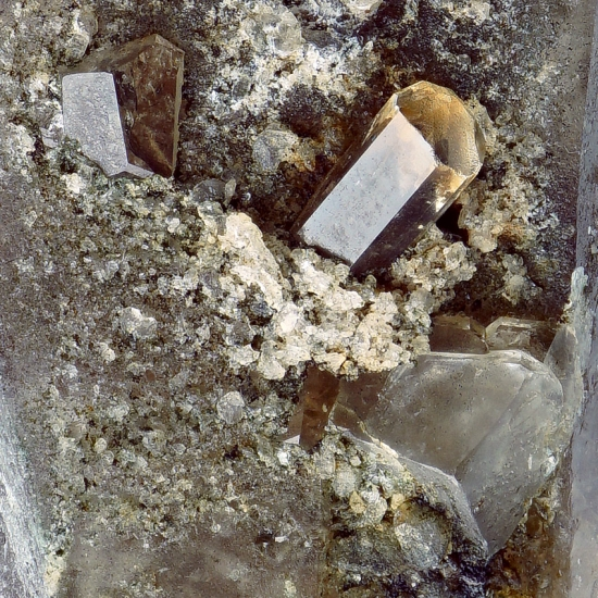 Phenakite On Smoky Quartz