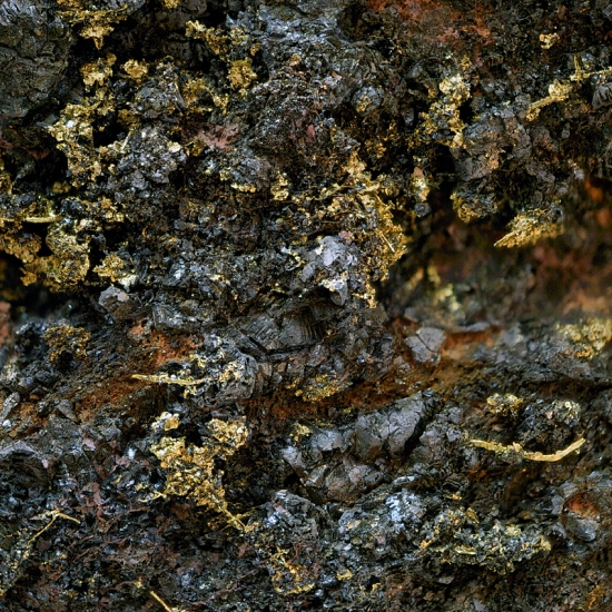 Native Gold On Safflorite With Erythrite