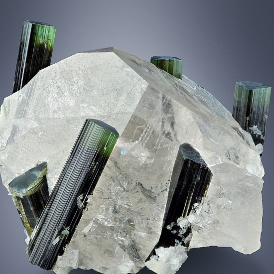 Elbaite On Rock Crystal
