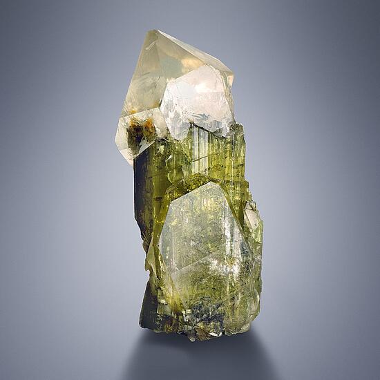 Rock Crystal On Tourmaline Var Verdelite