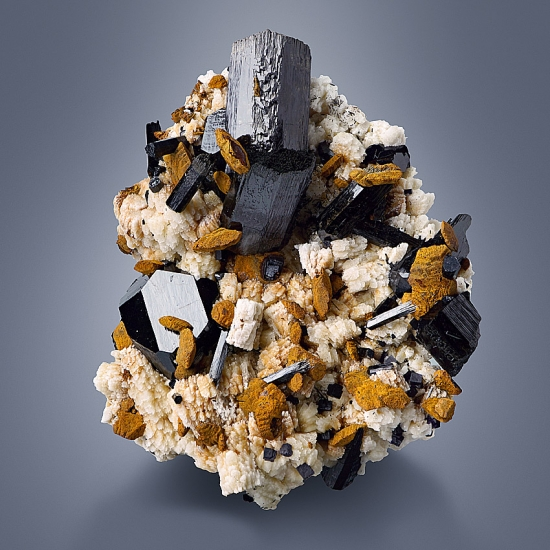 Limonite Psm Siderite & Schorl & Fluorite On Pericline