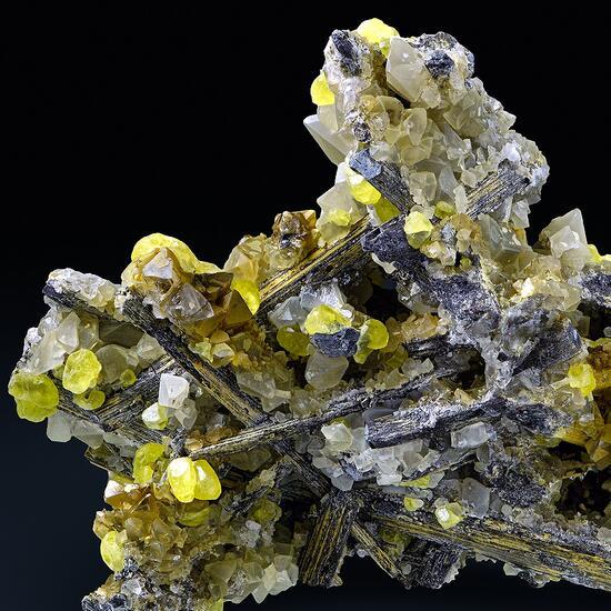 Native Sulphur & Baryte With Cervantite Psm Stibnite