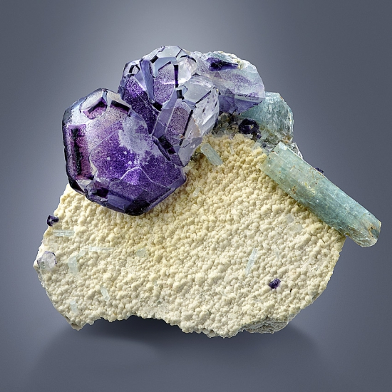 Fluorite & Aquamarine On Pericline