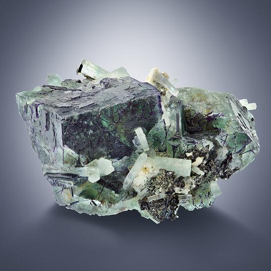 Aquamarine On Fluorite