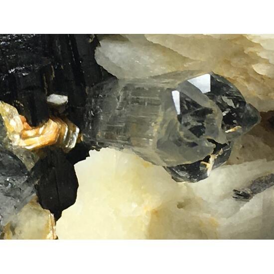 Aquamarine With Columbite & Feldspar