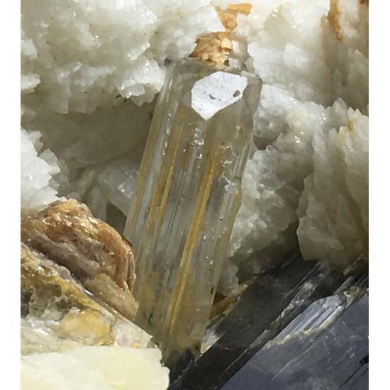 Aquamarine With Columbite Schorl & Feldspar