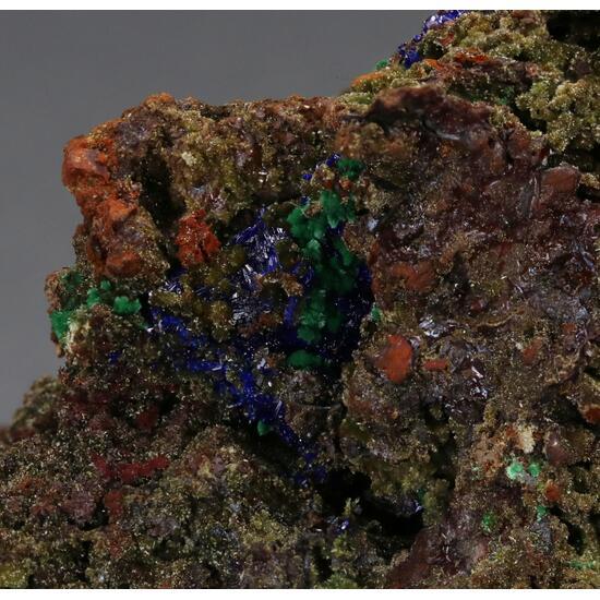 Azurite With Brochantite & Malachite & Goethite