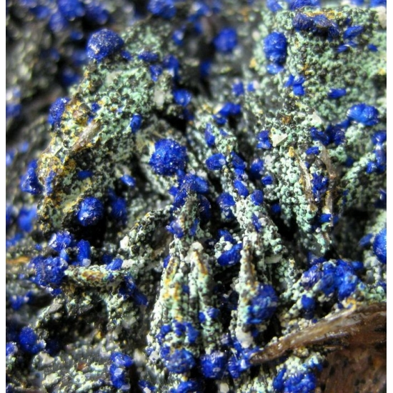 Azurite On Baryte With Zincolivenite