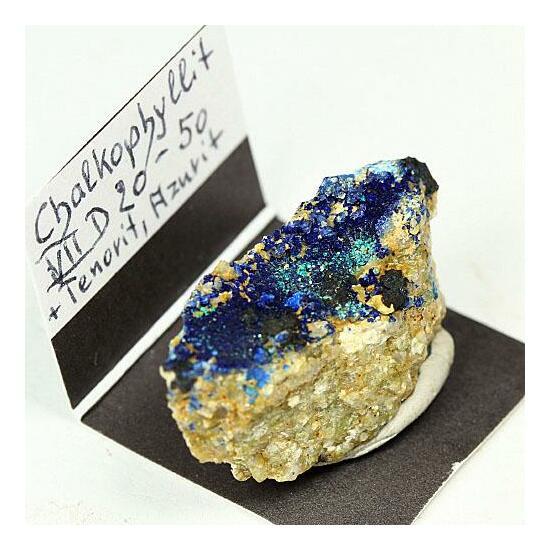 Chalcophyllite With Tenorite & Azurite