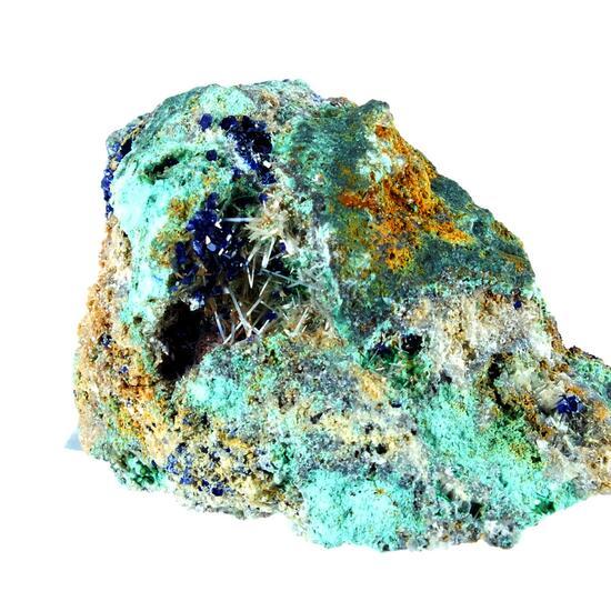 Azurite On Cerussite & Malachite