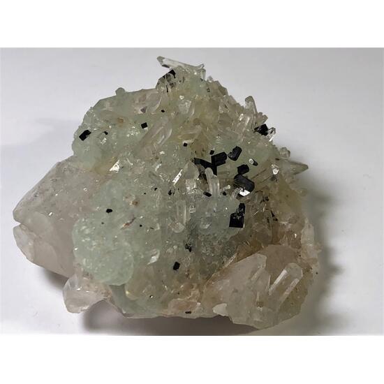 Babingtonite With Prehnite & Quartz