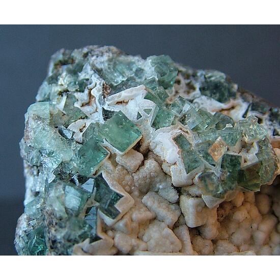 Fluorite With Aragonite & Calcite