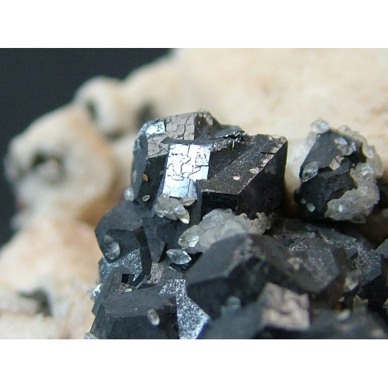 Galena with Calcite On Manganoan Calcite