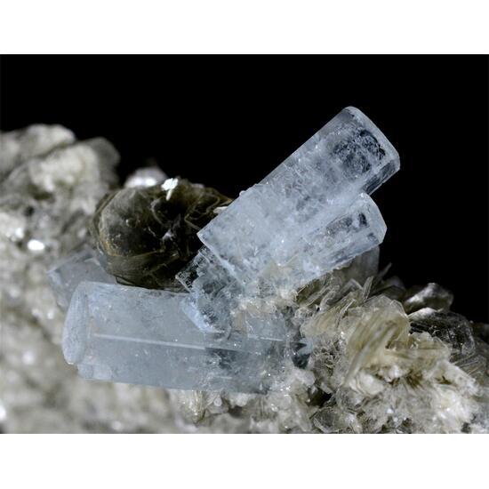 Aquamarine With Quartz Mica & Fluorite