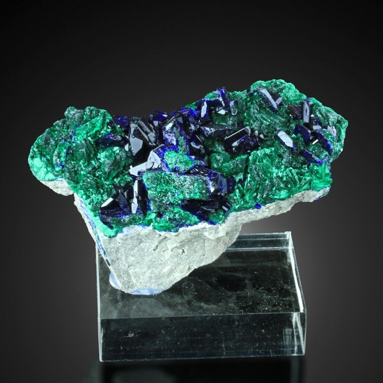 Azurite On Malachite