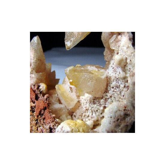 Calcite On Dolomite With Adamite