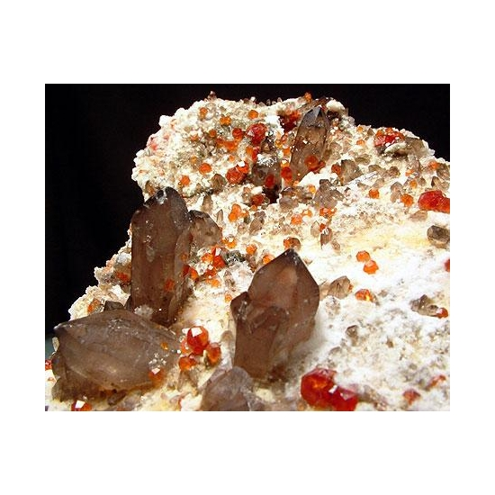 Spessartine & Smoky Quartz With Hyalite
